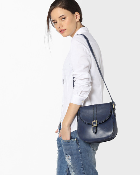 Sling Bag With Flap Closure By Lino Perros ( Blue )
