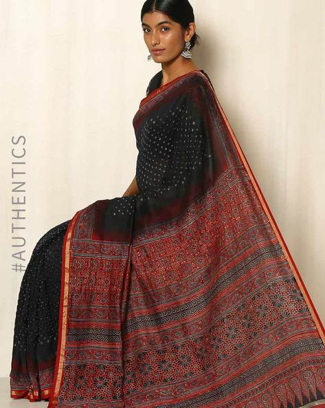 Kutch Bandhani Ajrak Silk Cotton Chanderi Saree By Indie Picks ( Black )