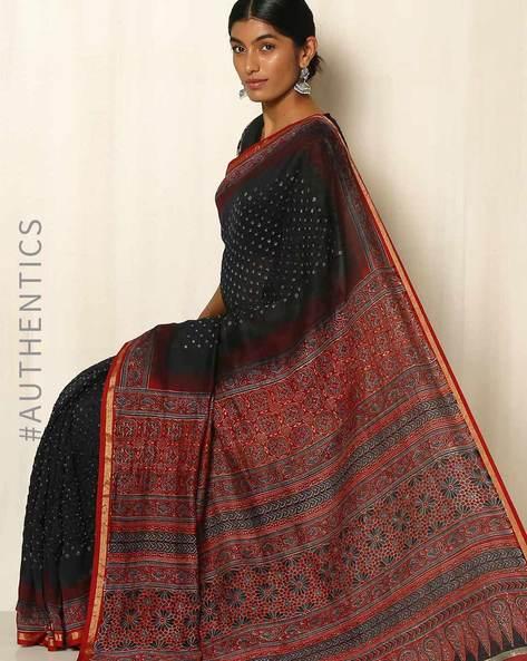 Kutch Bandhani Ajrak Silk Cotton Chanderi Saree By Indie Picks ( Black )