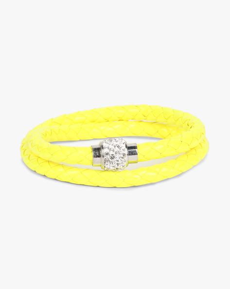Braided Bracelet With Stone Embellishments By ALPHA MAN ( Yellow )