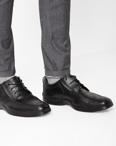 Leather Lace-Up Shoes By RED CHIEF ( Black )