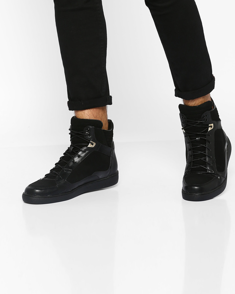 High-Top Lace-Up Sneakers By Carlton London ( Black )