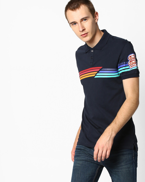 Polo T-shirt With Stripes By Celio ( Navyblue )