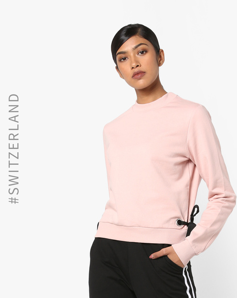 Crew-Neck Sweatshirt With Tie-Ups By TALLY WEiJL ( Pink )
