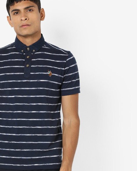 Yarn-Dyed Striped Polo T-shirt By US POLO ( Blue ) - 460036467002