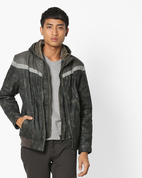 Printed Jacket With Front Zipper By Fort Collins ( Darkgreen )