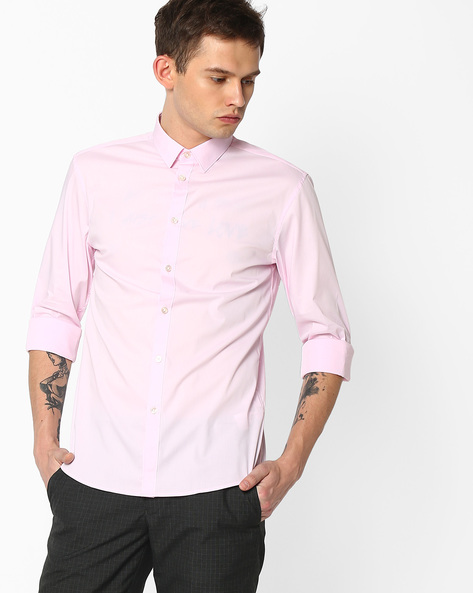 Cotton Shirt With Spread Collar By Celio ( Lightpink )