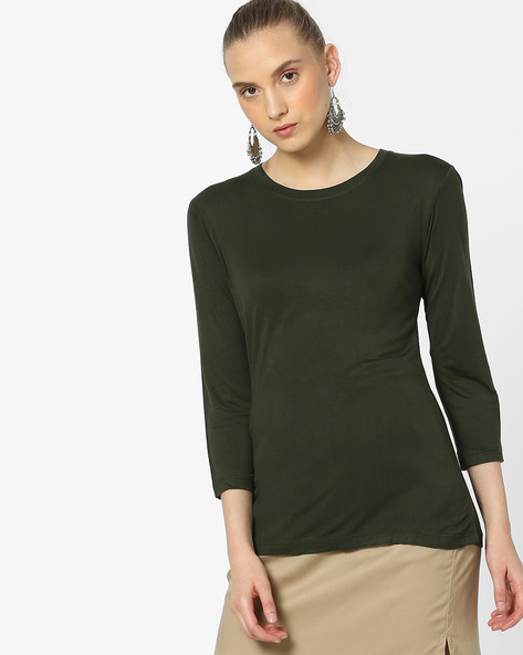 Knitted T-shirt With 3/4th Sleeves By Alibi ( Yellow )
