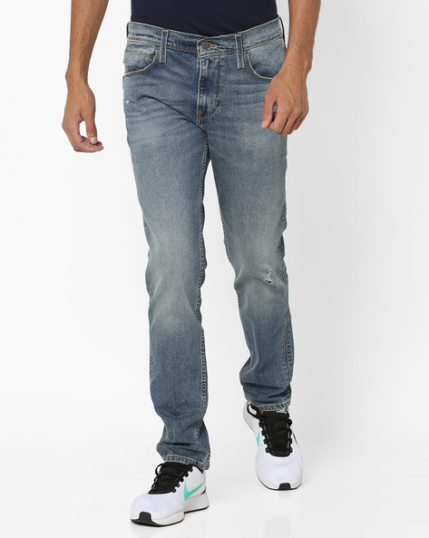 Distressed Slim Fit Jeans By LEVIS ( Blue )