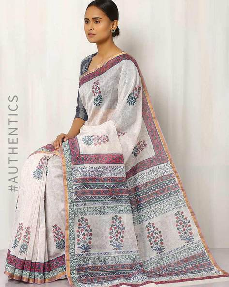 Hand Block Print Chanderi Saree By Indie Picks ( Multi ) - 460016412001