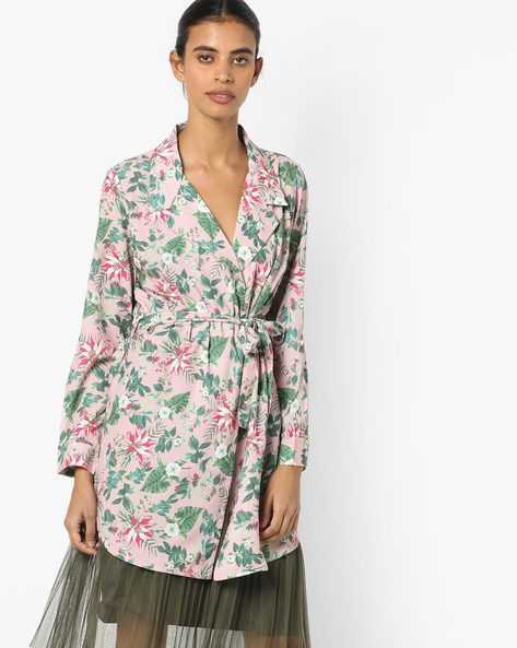 Floral Printed Shrug With Tie-Up By Project Eve WW Casual ( Ltpink )