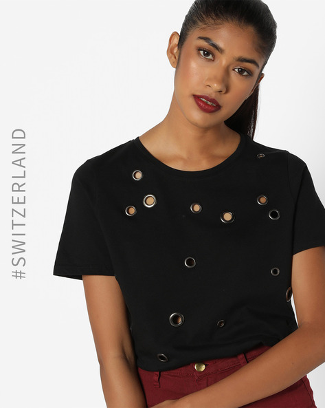 Crew-Neck T-shirt With Eyelets By TALLY WEiJL ( Black )