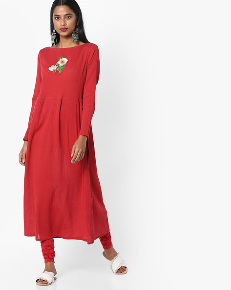 Embroidered Flared Kurta With Back Tie-Up By AJIO ( Red )