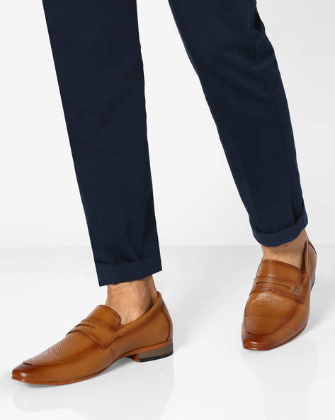 Genuine Leather Panelled Shoes By VALENTINO ( Teak )