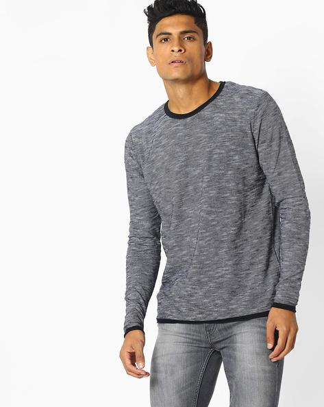 Striped Pullover With Contrast Trim By Celio ( Black )
