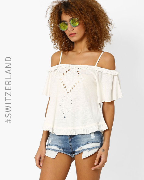 Off-Shoulder Top With Cutouts By TALLY WEiJL ( Offwhite )