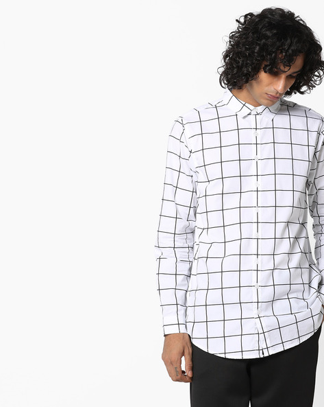 Checked Shirt With Curved Hemline By ADAMO LONDON ( Multi )