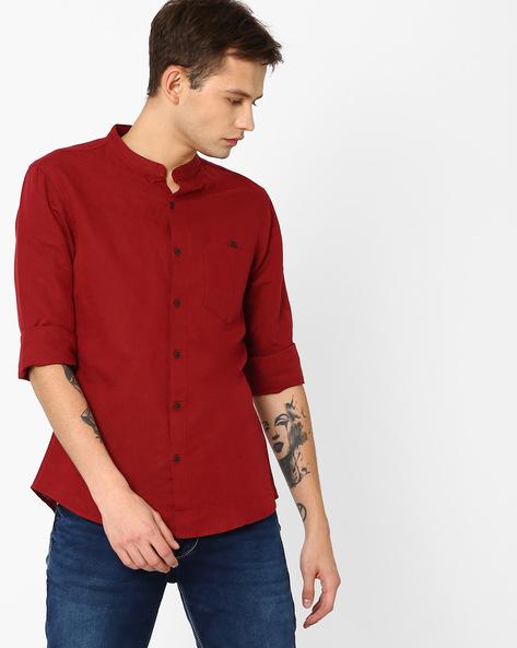 Linen Slim Shirt With Mandarin Collar By AJIO ( Maroon )