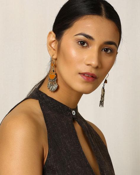 Traditional Afghan Dangler Earrings By Indie Picks ( Mustard )