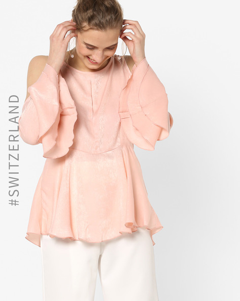 Peplum Top With Layered Bell Sleeves By TALLY WEiJL ( Pink )