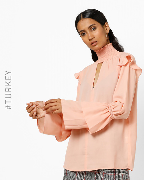 High-Neck Top With Tiered Bell Sleeves By TRENDYOL ( Peach )