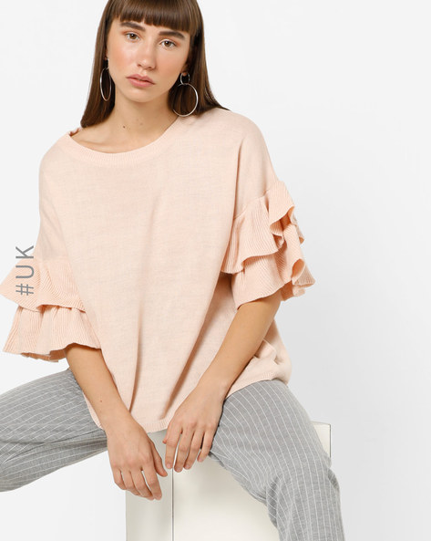 Knitted Top With Tiered Ruffle Sleeves By BRAVE SOUL ( Blush )