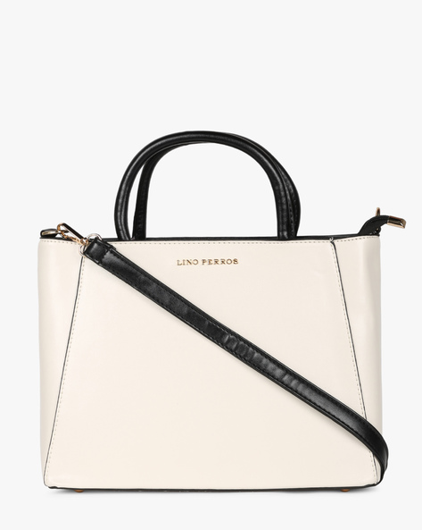 Panelled Shoulder Bag With Branding By Lino Perros ( White )