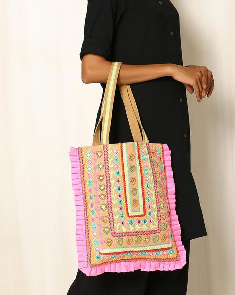 Dressy Cotton Tote Bag By Indie Picks ( Pink )