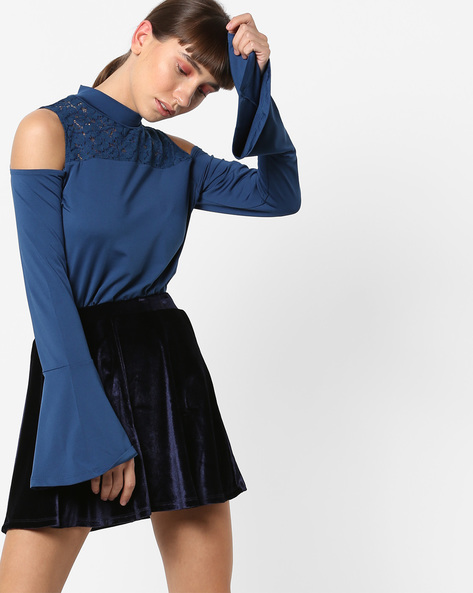 Cold-Shoulder Top With Bell Sleeves By AJIO ( Blue )