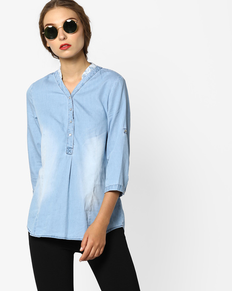 Denim Tunic Shirt With Lace Collar By KRAUS ( Blue )
