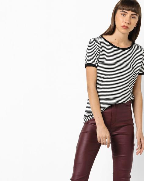 Striped Ringer T-shirt By AJIO ( Black )
