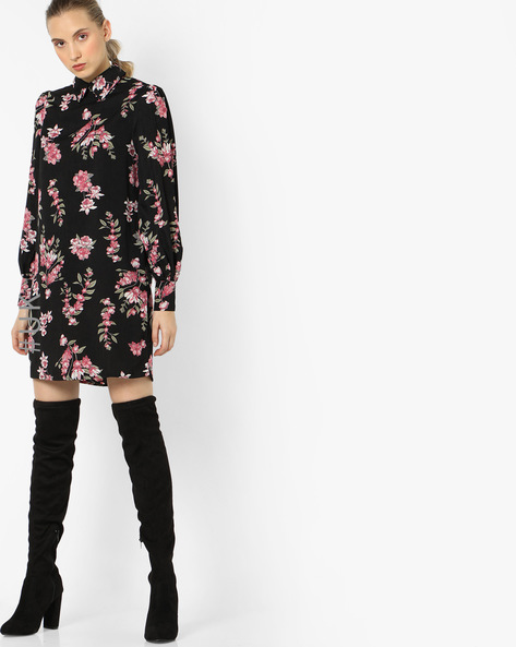 Floral Print Dress With Bishop Sleeves By OEUVRE ( Multi )