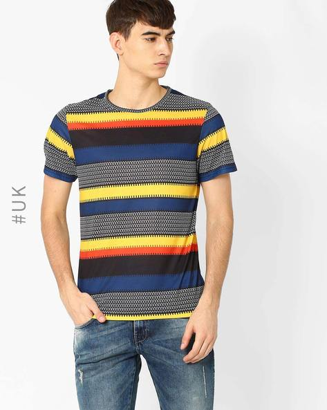 Printed Crew-Neck T-shirt By Native Youth ( Yellow )