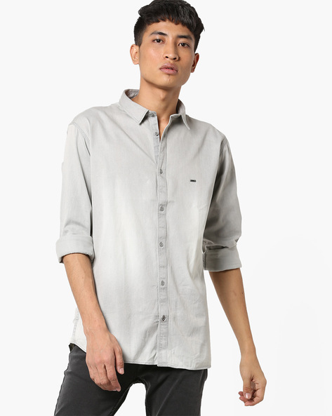 Slim Fit Shirt With Curved Hemline By BASICS ( Grey )