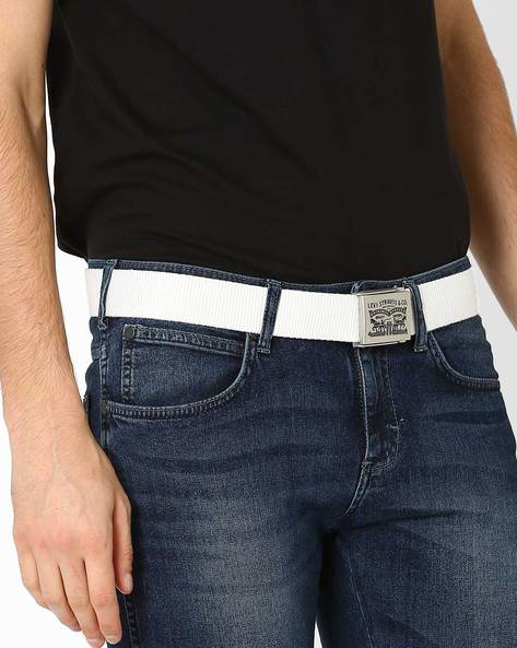 Canvas Belt With Buckle Closure By LEVIS ( White )