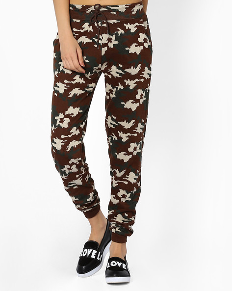Camouflage Ankle-Length Joggers By Ginger By Lifestyle ( Grey )