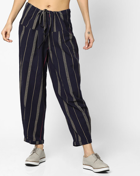 Striped Mid-Rise Palazzo Pants By AJIO ( Blue )