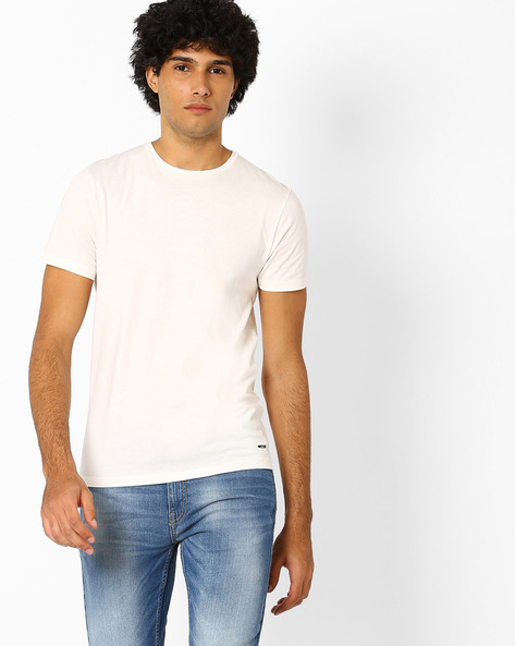 Crew-Neck Slim Fit T-shirt By Jack & Jones ( Sblue )