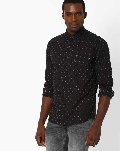 Slim Fit Cotton Shirt By SIN ( Black )