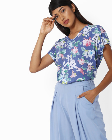Floral Print V-neck Top By Project Eve WW Athleisure ( Blue )