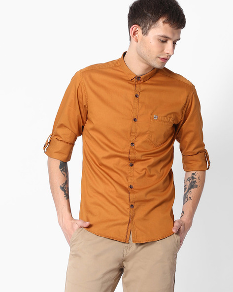 Slim Fit Shirt With Curved Hem By MUFTI ( Brown )