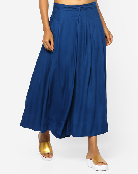 Mid-Rise Palazzos With Box Pleats By PE WW Casual ( Navy )