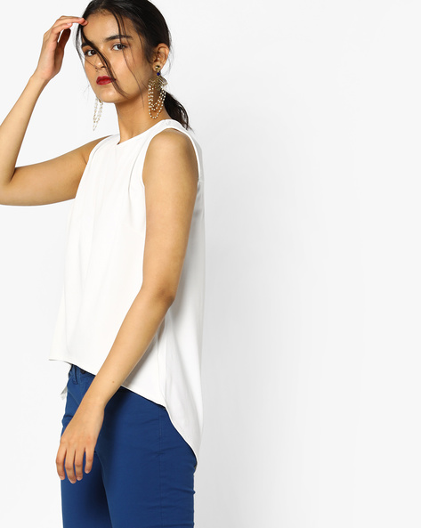Sleeveless Jersey Top With High-Low Hemline By PE WW Evening ( Offwhite )