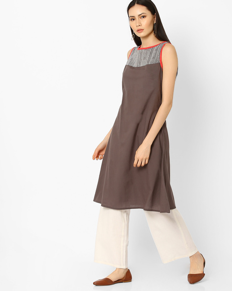 Kurta With Contrast Yoke By AJIO ( Grey )