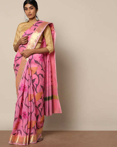 Banarasi Silk Cutwork Floral Jaal Saree By Banarasi Style ( Magenta )