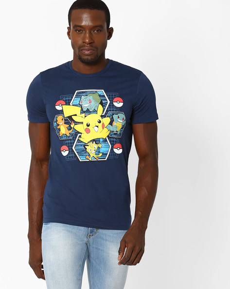 Pokemon Print Crew-Neck T-shirt By Free Authority ( Blue )