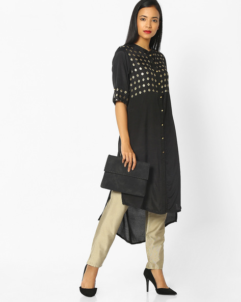High-Low Kurta With Button Placket By AVAASA MIX N' MATCH ( Black )