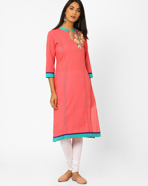 Straight Kurta With Floral Embroidery By AJIO ( Coral )