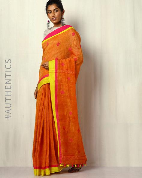 Handloom Bengal Pure Linen Jamdani Saree With Tassels By Indie Picks ( Orange )