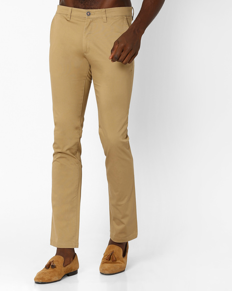 Slim Fit Flat-Front Trousers By Wills Lifestyle ( Brown )